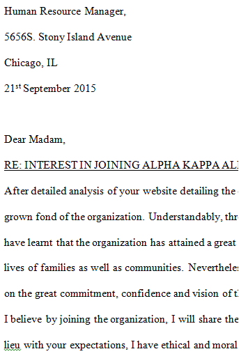 Alpha Kappa Alpha Interest Letter